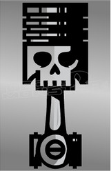 Skull Piston Silhouette Decal Sticker