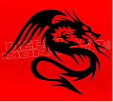 Warrior Dragon Silhouette 1 Decal Sticker