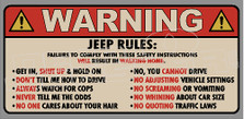 Warning Jeep Rules Sign Decal Sticker