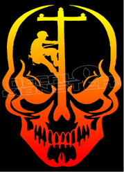 Lineman Death Skull Decal Sticker