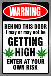 Marijuana Weed Warning Getting High Decal Sticker