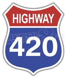 Marijuana Weed Highway 420 Sign Decal Sticker