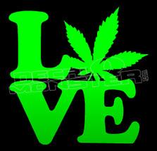 Marijuana Weed Love Pot Leaf Decal Sticker