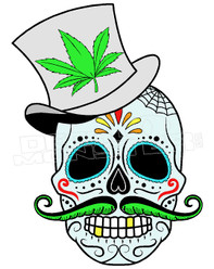 Marijuana Weed Sugar Cane Skull Decal Sticker