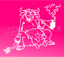 Marijuana Weed Smoking Cow Silhouette Decal Sticker