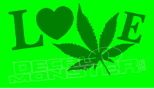 Marijuana Weed Love Pot Decal Sticker