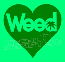 Marijuana Weed Love 3 Decal Sticker