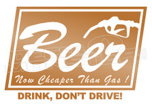Drinks Beer Cheaper than Gas Decal Sticker