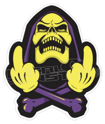 Grim Reaper Double Middle Finger Decal Sticker