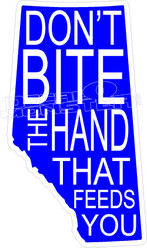 Alberta Saskatchewan Trudeau Dont Bite The Hand That Feeds You Decal Sticker