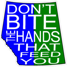Alberta Saskatchewan Trudeau Dont Bite The Hands That Feed You Decal Sticker
