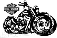 Harley Davidson Motorcycle Silhouette Decal Sticker