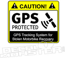 Caution GPS Protected Motorbike Decal Sticker