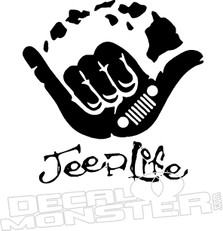 Jeep Life Shaka Hawaiian Islands Decal Sticker