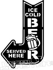 Ice Cold Beer Neon Sign Decal Sticker