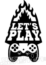 LET'S PLAY Flaming Controller Gamer Decal Sticker