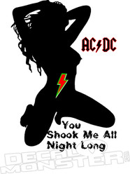 Shook Me All Night Long ACDC Music Decal Sticker