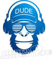 Dude Monkey Headphones Decal Sticker