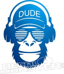 Dude Monkey Headphones Decal Sticker