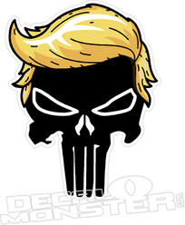 Trump Hair Punisher Skull Decal Sticker