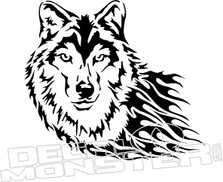 Tribal Wolf Flame Decal Sticker