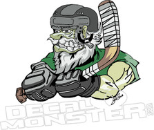 Tough Hockey Player Guy Decal Sticker
