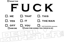 What the Fuck Check List Decal Sticker