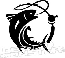 Fish and Rod Fishing Decal Sticker