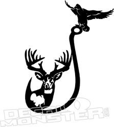 Deer Duck Fish Hook Decal Sticker