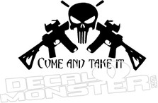 Come and Take It AR15 Punisher Skull Cross Decal Sticker