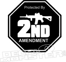 Protected By 2nd Amendment 2 Gun Decal Sticker