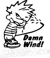 Dam Wind Calvin Peeing Decal Sticker