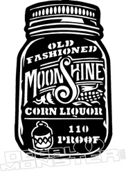 Old Fahioned Mason Jar Moonshine Decal Sticker