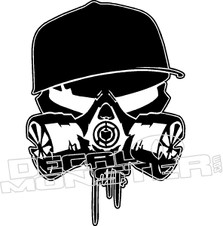 Skull Gas Mask Hat Decal Sticker