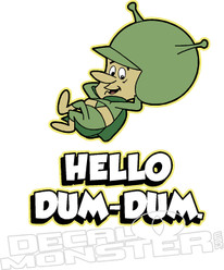 Hello Dum-Dum Flintstones Gazoo Decal Sticker