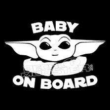 Baby Yoda On Board Star Wars Decal Sticker DM