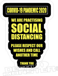 Coronavirus Corvid-19 Pandemic 2020 We are Practising Social Distancing Safety PPE Decal Sticker DM
