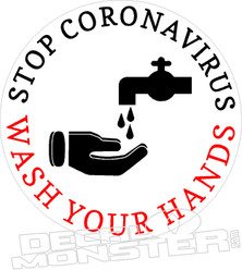 Stop Coronavirus Wash Your Hands Covid-19 Decal Sticker
