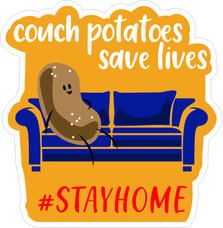 Couch Potatoes Save Lives Covid-19 Corona Virus Decal Sticker