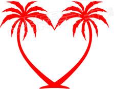 Palm Trees Heart Hawaii Decal Sticker DM