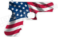 America USA Gun Flag Decal Sticker DM