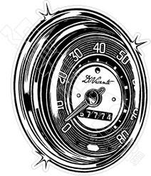 Vintage Speedometer Decal Sticker DM