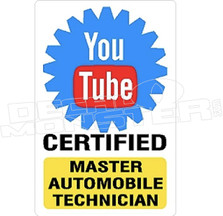 You Tube Certified Mechanic Decal Sticker
