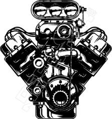 Blown V8 Engine Decal Sticker