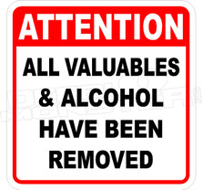 Valuables & Alcohol Removed Decal Sticker