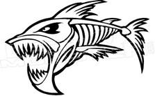 Evil Skeleton Fish Decal Sticker
