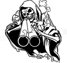 Grim Reaper Shot Gun Decal Sticker