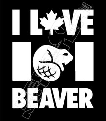 I Love Canadian Beaver Decal Sticker