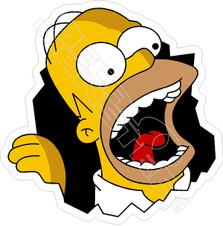 Homer Smash Through Funny Decal Sticker