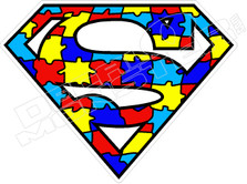Puzzle Superman Autism Decal Sticker